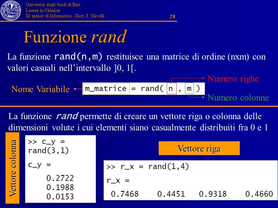 Funzione rand La funzione rand(n,m) restituisce una matrice di ordine (nxm) con valori casuali nell'intervallo ]0, 1[.